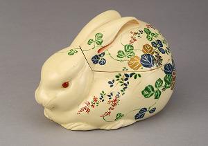 古清水色繪花草兔子蓋缽