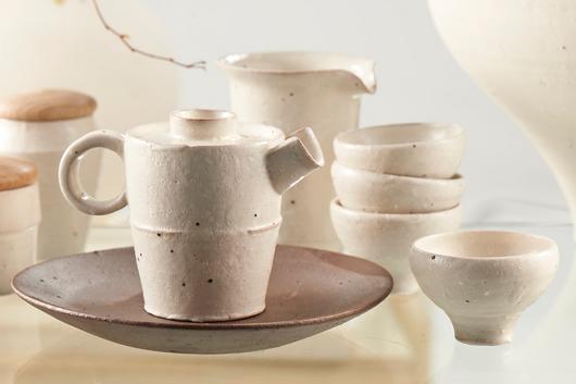 謙白茶器組-立壺
