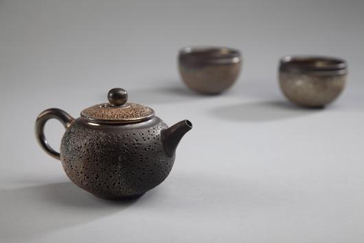 金銀彩柴燒冰煙茶具組